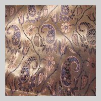 Peachy Pink Navy Blue Paisley Brocade Runner Cloth India