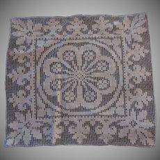 Off White Linen Filet Crochet Woven Small Cloth Mat