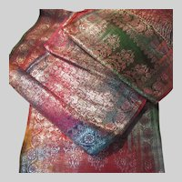 Indian Sari Style Long Table Runner Scarf Brocade Paisley Zari