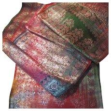 Indian Sari Style Long Table Runner Scarf Brocade Paisley Zari