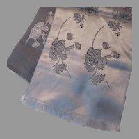 Japanese Woven Satin Runner Scarf Silver Gray Black
