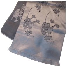 Japanese Woven Satin Runner Scarf Silver Gray Black