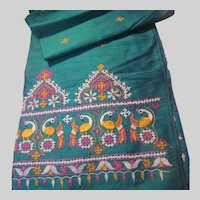 Turquoise Blue India Silk Hand Embroidered Runner Scarf Fabric Peacocks Birds