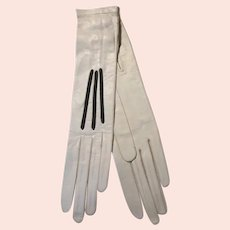 Antique White Kid Leather French Long Gloves NW
