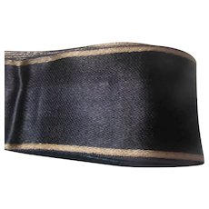 Black Navy Blue Antique Silk Faille Ribbon Gold Edges 9+ Yards