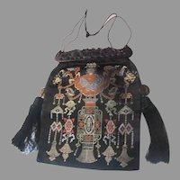 Silk Satin Handbag Purse Bag Carved Handle Chinese Coins