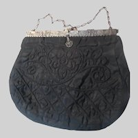 Black Matalasse Taffeta Bag Ornate Metal Frame