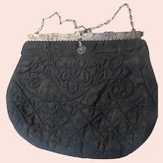Black Matalasse Taffeta Bag Ornate Metal Frame