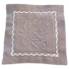 White Linen Square Cloth Mat Embroidered Rose Openwork Needlework