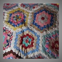 Cotton Hand Sewn Old Quilt Fine Needlework Textiles