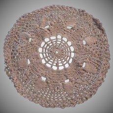 Ecru Crochet Round Doilie Cloth Mat Needlework