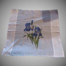 White Fine Cotton Cloth Hand Painted Iris Flowers Or Handkerchief