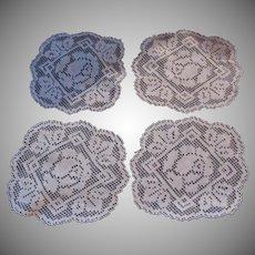 Set 4 Filet Doilies Coasters Fine Linens