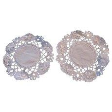 Set 2 Round White Doilies Linen Coasters Crochet Borders