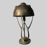 Arts & Crafts Brass Lamp Green Glass Jeweled Inserts