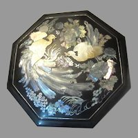 Octagonal Lacquerware Abalone & Pearl  Inlay 9 Section Asian  Box Bowl