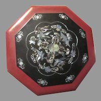 Octagonal Lacquer Ware Abalone Inlay 5 Section Asian  Box Bowl