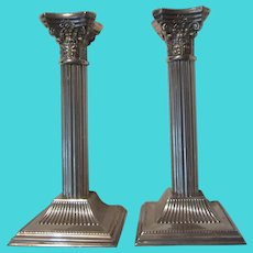 Pair Classic Vintage Silver Plate Candle Holders