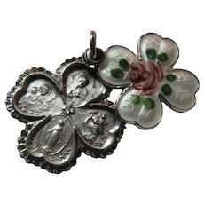 Chapel Sterling Silver Enamel 4 Way Slider Medal Pink Flower