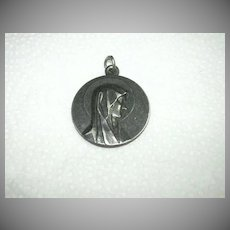 Old French Virgin Mary Our Lady Lourdes Large Signed Medal