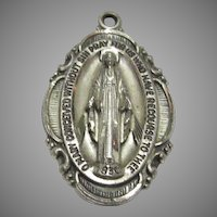 Creed Sterling Miraculous Medal of Virgin Mary Fancy Design