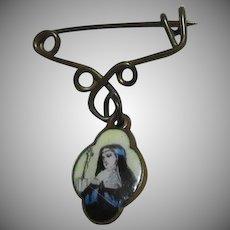 Tiny Medal St Teresa Enamel Or Hand Painted