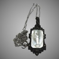 German Sterling Mother Of Pearl Virgin Mary Medal With Marcasites