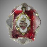 Old Lucite Sacred Heart Medal Pendant