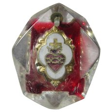 Old Lucite Sacred Heart Medal Pendant