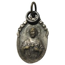 Jesus Sacred Heart Old French Signed Medal Virgin Mary