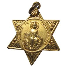 Old Gloria In Excelsis Deo Child Jesus Medal With Guardian Angel