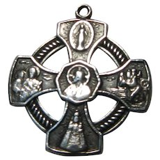 Catholic 4 Way Cross Medal Sterling Silver Virgin Mary St Joseph Christopher