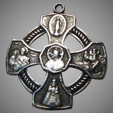 Catholic 4 Way Cross Medal Sterling Silver Virgin Mary St Joseph Christopher