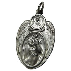 Large Winged St Christopher Jesus Sacred Heart Scapular Medal