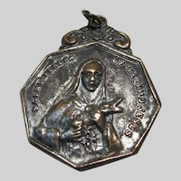 Large Old St Therese of Infant Jesus Lisieux Medal