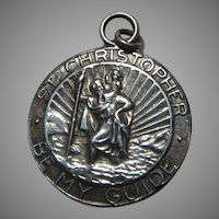 Large Older Sterling Silver St Christopher Medal Traveler Protection