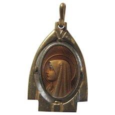 Fine Virgin Mary Art Medal Art Deco Design
