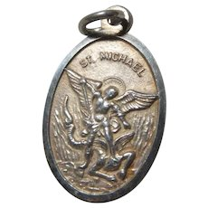 Italian St Michael St Christopher Protection Medal