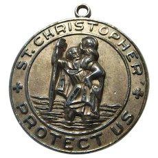 Old St Christopher Medal Sterling Silver