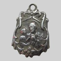 Sterling Silver Ornate Medal St Joseph Guardian Angel Protection Children
