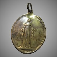Huge Virgin Mary Bronze Old Medal Pendant