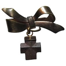 Old Religious Pin With Wood Cross