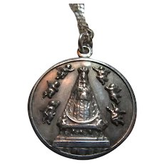Virgin Mary Our Lady Sterling Silver Medal With Chain