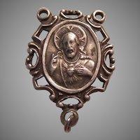 Chapel Sterling Silver Jesus Sacred Heart Rosary Center Medal