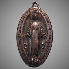 1933 Virgin Mary Miraculous Medal Unusual Design