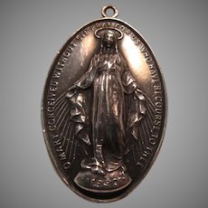 Large Virgin Mary Miraculous Sterling Silver Medal