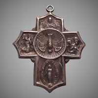 Sterling Silver 4 Way Medal Holy Ghost Jesus Sacred Heart Cross