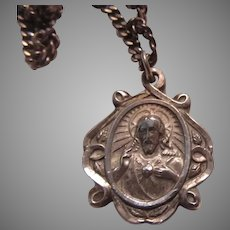Sterling Silver Jesus Sacred Heart Mary Our Lady Mt Carmel Scapular Medal