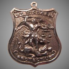 St Micheal Large Ornate Sterling Silver Medal