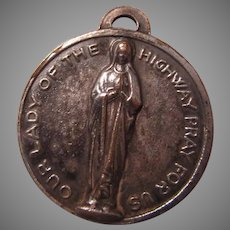 Large Virgin Mary Our Lady of Highway St Christopher Travelers Medal
